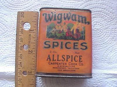 Antique Wigwam All Spice Tin Vintage Native American Can Teepee Grocery