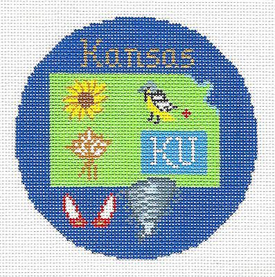 """KANSAS State handpainted 4.25"""" Round Needlepoint Canvas by Silver Needle"""