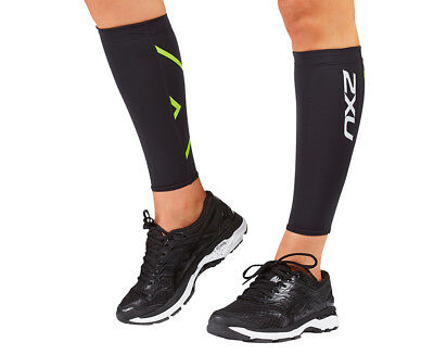 Unisex 2XU Compression Calf Guards - Black/Bright Green