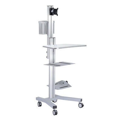 Desktop PC Mobile Cart Wheel Computer Monitor Stand Office Workstation Tradeshow