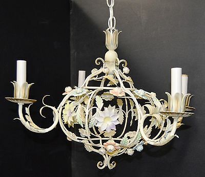 Vintage Beautiful Italian Toleware 4 Light Floral Bouquet Chandelier Tole Italy