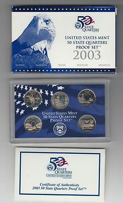 5 Coins 50 State Quarters Proof Set in Box with COA  (US Mint, 2003)