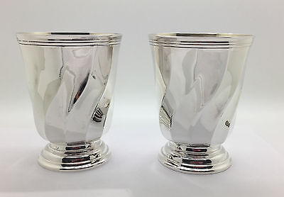 2 Christofle Silver Drinking Cups Swirl Design