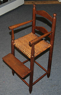 Antique Late 18th Early 19th Century Baby Maple High Chair, Original Caning