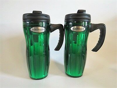 2 New Starbuck's Coffee 16 oz Jade Green Thermoplastic Tumblers Barista Lids