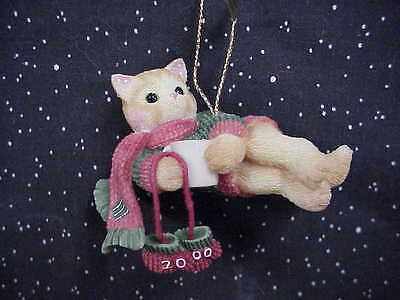 Calico Kitten with Scarf Dated 2000 Hanging Ornament Christmas Ornament Enesco