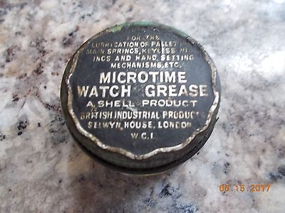 Vintage Tin Microtime Watch Grease, Shell British Industrial Product, partial