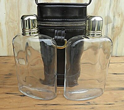 Liqour Flask Set, Vintage (2) Glass in Leather Case with metal shot cups