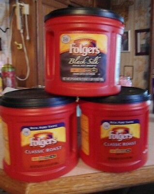 3 Empty Plastic Folgers Coffee Cans  Containers Crafts Kitchen Storage 2015-2018