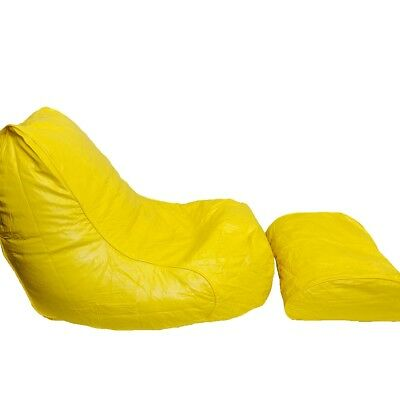 Boscoman - Vinyl Bean Bag Lounger w/Footrest - Yellow