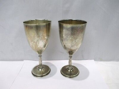 """2x Vintage Juvento Lopez Reyes Mexican Sterling Silver 6-3/4"""" Tall Goblets Cups"""