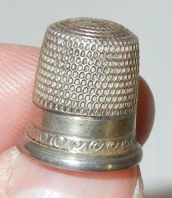 Antique Fancy Sterling Silver Sewing Thimble Size 6 Star Mark
