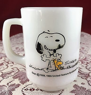 Fire King Snoopy Mug - THIS HAS BEEN A GOOD DAY! - Snoopy and Woodstock Relaxing