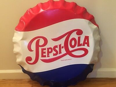 "27"" Vintage Pepsi Cola Soda Pop Bottle Cap Embossed Advertising Candy Store Sign"