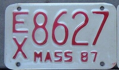 MASSACHUSETTS  VINTAGE 1987  Motorcycle Cycle License plate  EX 8627