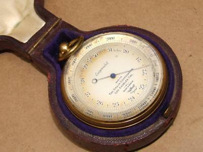 Antq Compensated Pocket Barometer Altimeter Short & Mason Tycos In Case LONDON