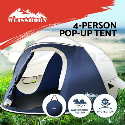 Weisshorn 4 Person Family Camping Tent Pop Up Canvas Swag Hiking Beach