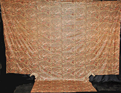 Antique Chintz Bedspread 1810 - 1825 Pheasant Print Countererpane For Poster Bed