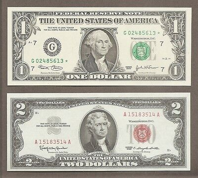 2003 $1 STAR + 1963 $2 - ( 2 ) UNC Green & Red Seal Notes