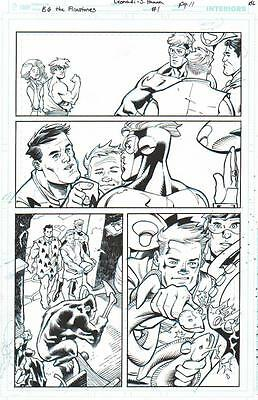 Booster Gold Meets The Flintstones Original Ink Art- Leonardi/ Hanna-2017!