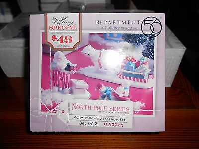 DEPT 56 NORTH POLE VILLAGE Accessory JOLLY FELLOWS TOY SHOP ACCESSORY SET *Read*