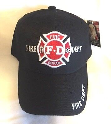 New Black Cap with Embroidered Maltese Cross Fire Dept. Firefighter Design
