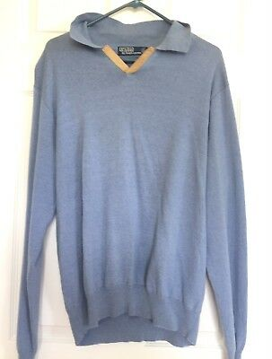 POLO RALPH LAUREN Mens Blue Cotton Wool Collared Sweatshirt Pullover Shirt XL