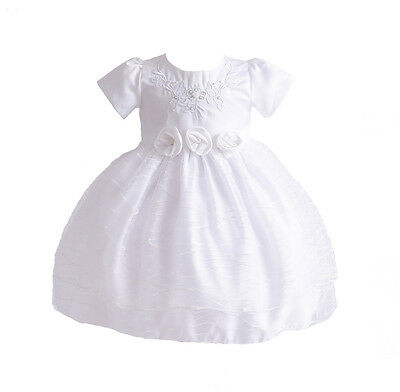 New Girls White Christening Party Flower Girls Dress 0-3 Months