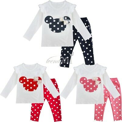 Kids Baby Girls Cotton Long Sleeve Tops + Polka Dots Pants Hot  2Pcs Suit Outfit