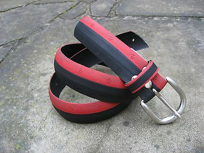 S/M - Medium Width Recycled Black Red Bicycle Tyre Belt with silver metal buckle