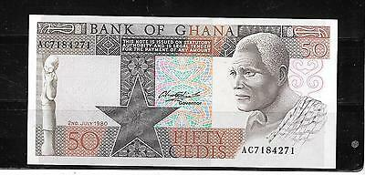 GHANA #22b 1980 MINT CRISP  OLD 50 CEDIS BANKNOTE PAPER MONEY CURRENCY BILL NOTE