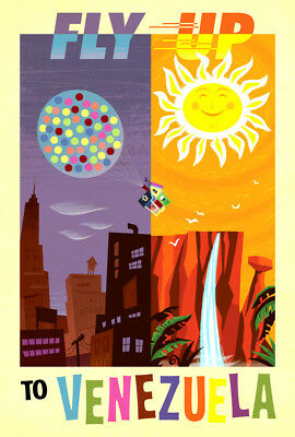 """Vintage Travel Poster CANVAS PRINT Fly up to Venezuela 16""""x12"""""""