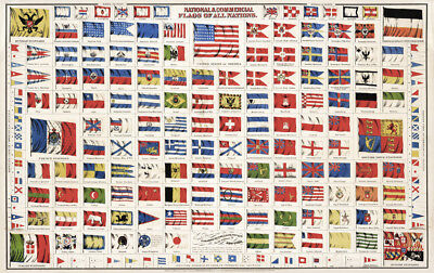 Vintage Flags of the World CANVAS PRINT A3 Poster