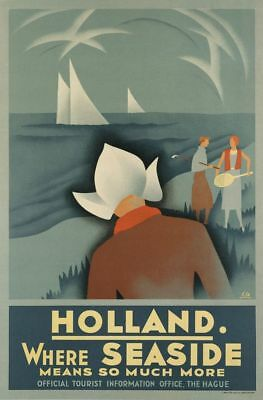 Vintage Travel Poster CANVAS PRINT Holland where seas means much more A3