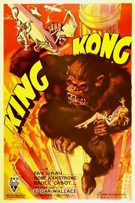 """KING KONG Vintage movie poster fay wray #1 A3 CANVAS PRINT 18""""X 12"""""""