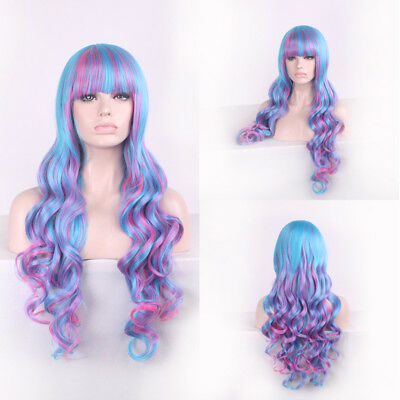 80CM KANEKALON Long Curly Wavy Full Hair Cosplay Party Anime Wig Lolita Blue