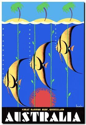"""Vintage Travel Poster CANVAS PRINT QLD Great barrier Reef fish Australia 24""""X16"""""""