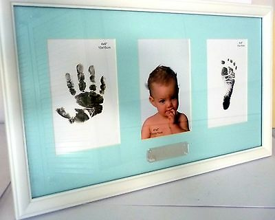 Baby Boy Keepsake Hand/foot Print Photo Frame Christening Baby Shower Gift Bnib