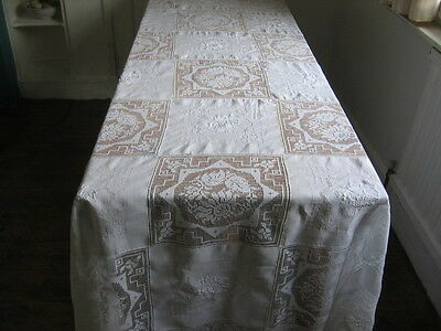ANTIQUE TABLECLOTH LACE AND HAND EMBROIDERED SQUARES  6FT x 5FT 4""