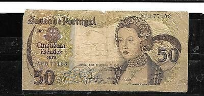 PORTUGAL #174b 1980 GOOD CIRC 50 ESCUDOS OLD BANKNOTE PAPER MONEY BILL NOTE
