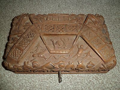 Vintage wooden box with fantastic 3D hand carved detail