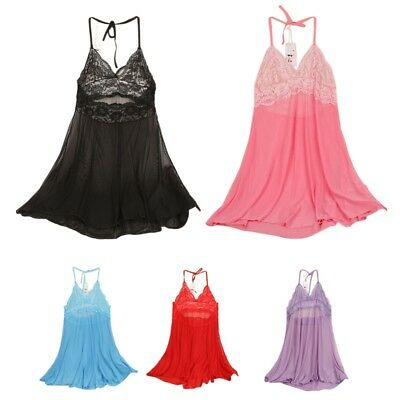 US Sexy Women Ladies Lace Dress G-string Underwear Lingerie Babydoll Sleepwear