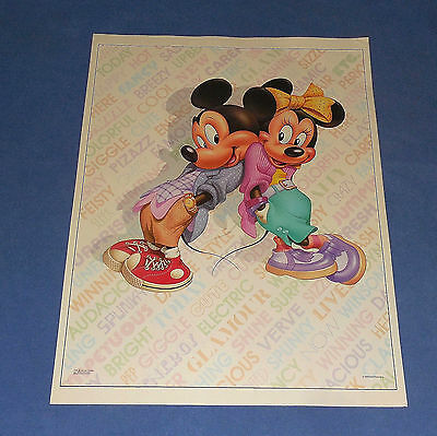 """VINTAGE  28"""" x 22""""   MICKEY MOUSE & MINNIE MOUSE  POSTER - 1986"""