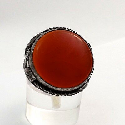 Art Deco Carnelian Ring with Leaf Motif Sterling Silver Setting Sz 6.5