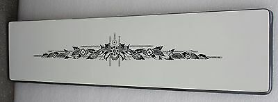 Vintage Porcelain Enamel Shelf / Panel / Table Black + White Floral Motif B