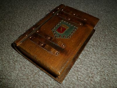Vintage wooden book box with crest and metal work detail