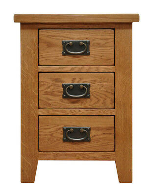 Oak Large 3 Drawer Bedside Cabinet Waxed Oak | Wooden Side End Lamp Nightstand