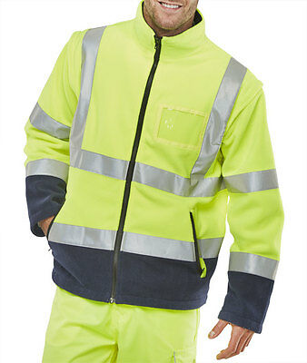 BSeen High Visibility Yellow Navy Blue Fleece Jacket Bodywarmer Gilet Class 3