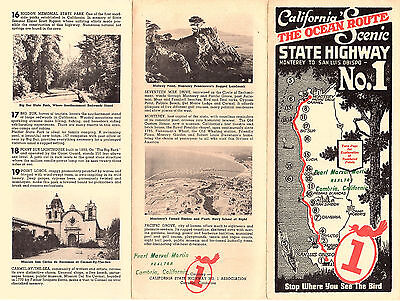 Scenic Highway No.1 California's Ocean Route Vintage Brochure Points of Interest