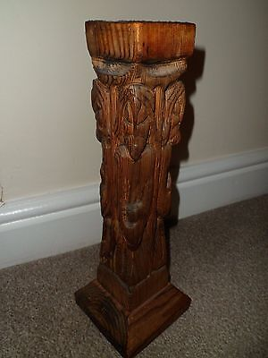 Vintage carved wooden candle holder